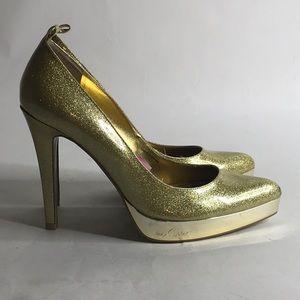 Baby Phat Gold Glitter Platform Pumps SZ 9B